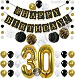 old birthday - Black 30th BIRTHDAY DECORATIONS PARTY KIT - Black Gold and White Paper PomPoms| Latex Balloons | Gold Number 30 Ballon | Circle Garland | 30th Birthday Balloons | 30 Years Old Birthday Party Supplies