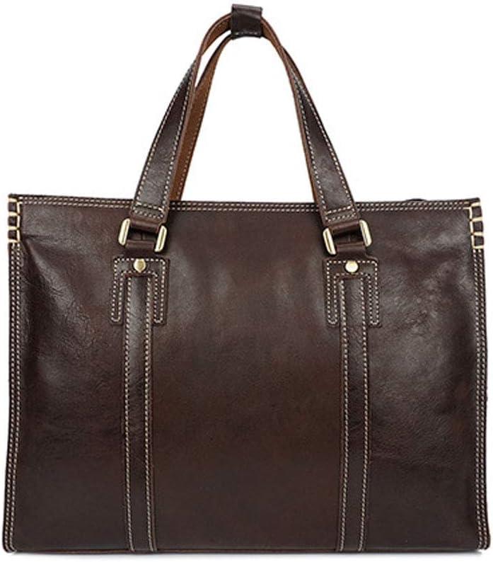 QERNTPEY Laptop Bags Leather Briefcase Tote Business Vintage Handbag Laptop Shoulder Bag Computer Bag for Men Men Business Briefcase Vintage Large Shoulder Bag Color : Brown