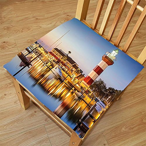 Nalahome Set of 2 Waterproof Cozy Seat Protector Cushion United States Hilton Head South Carolina Lighthouse Twilight Water Reflection Boats Idyllic Multicolor Printing Size - Head Hilton Sunglasses