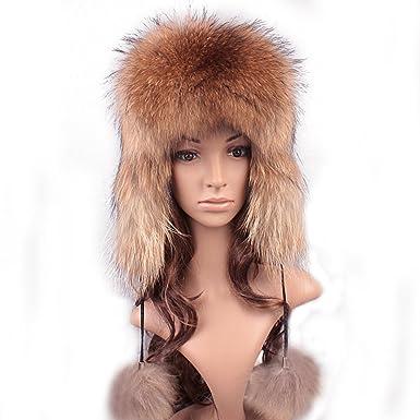 49955cba508 Roniky Women s Real Fox Fur Russian Ushanka Trooper Hat Winter Fur Hat with  Ear Flaps