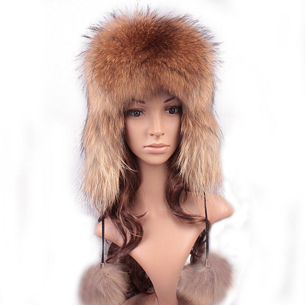 Roniky Women's Real Fox Fur Russian Ushanka Trooper Hat Winter Fur Hat with Ear Flaps