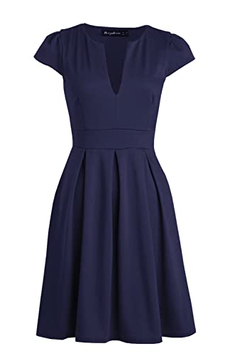 Berydress Women's Short Sleeve V-Neck Wear to Work Casual Cocktail Party Dress
