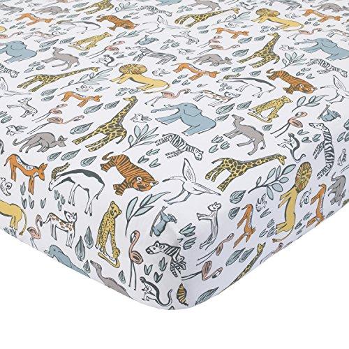 - Dwell Studio Safari Animal Print Fitted Crib Sheet, Gray/Yellow/Orange