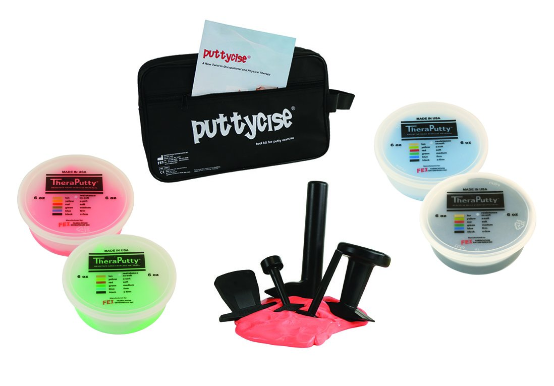 CanDo 10-2834 Puttycise Theraputty with Bag and Putties, 4 x 6 oz, Red-Black, 5-Tool Set