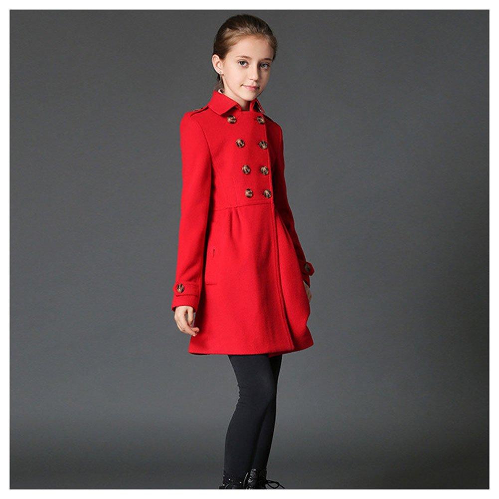 d7ef885520b LSERVER Fille Blouson Manteau Caban Slim Automne Hiver Chaude Trench-Coat  Mi Longue Robe