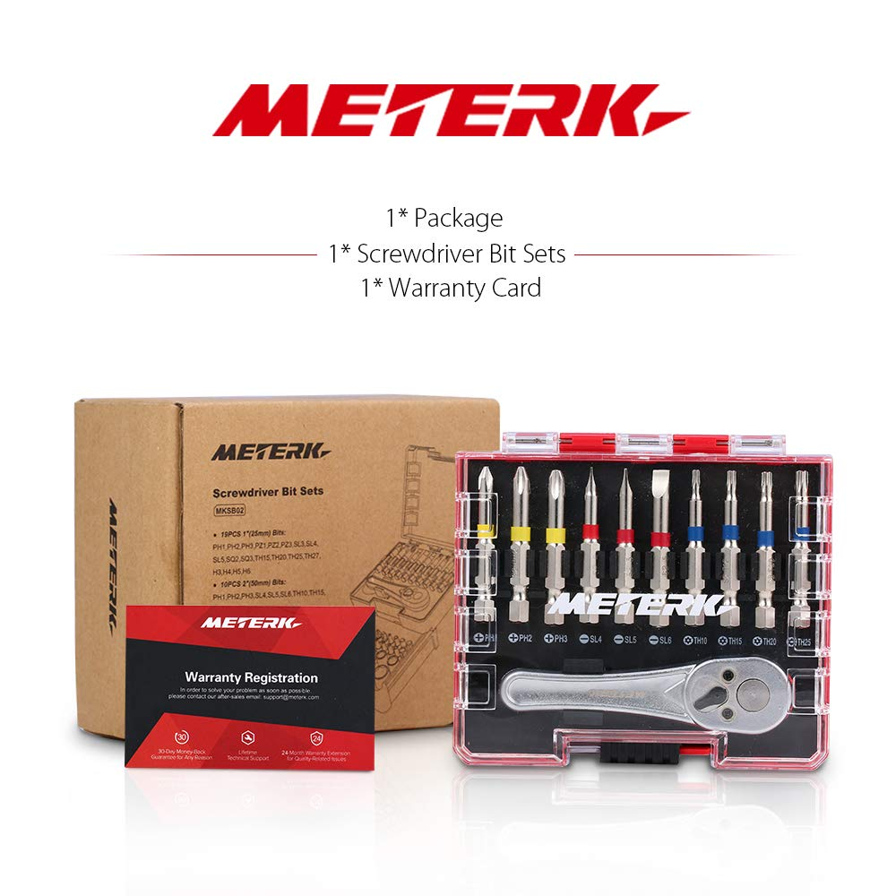 Meterk 41 Pcs Mini Ratchet and Bit Set Socket Wrench Screwdriver Set with 1 Socket Wrench 1/4'' Drive, 1 Adapter, 10 Sockets and 29 Screwdriver Bits( 25mm and 50mm), Multipurpose Ratchet Bits Set by Meterk (Image #8)