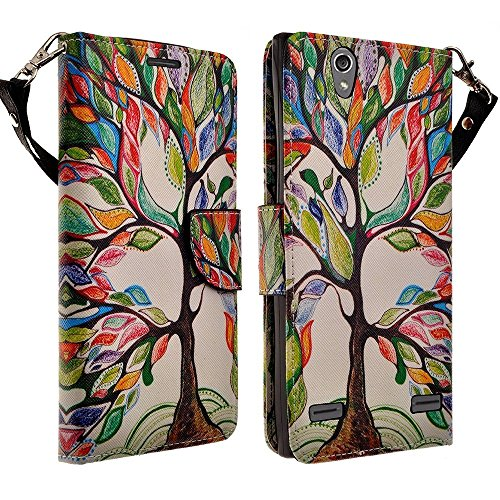 Elite Phone Covers - ZTE Warp Elite Case - Magnetic Leather Folio Flip Book Wallet Pouch Case Cover With Fold Up Kickstand and Detachable Wrist Strap For ZTE Warp Elite (Boost) - Colorful Tree