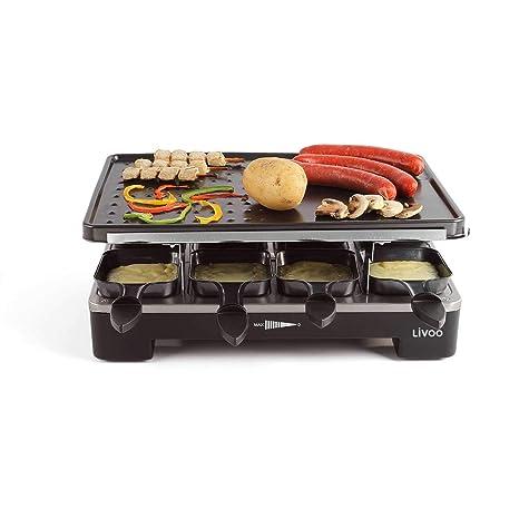 Raclette Parrilla 8 personas plancha mesa para barbacoa eléctrica 2 placas de barbacoa (8 sartenes