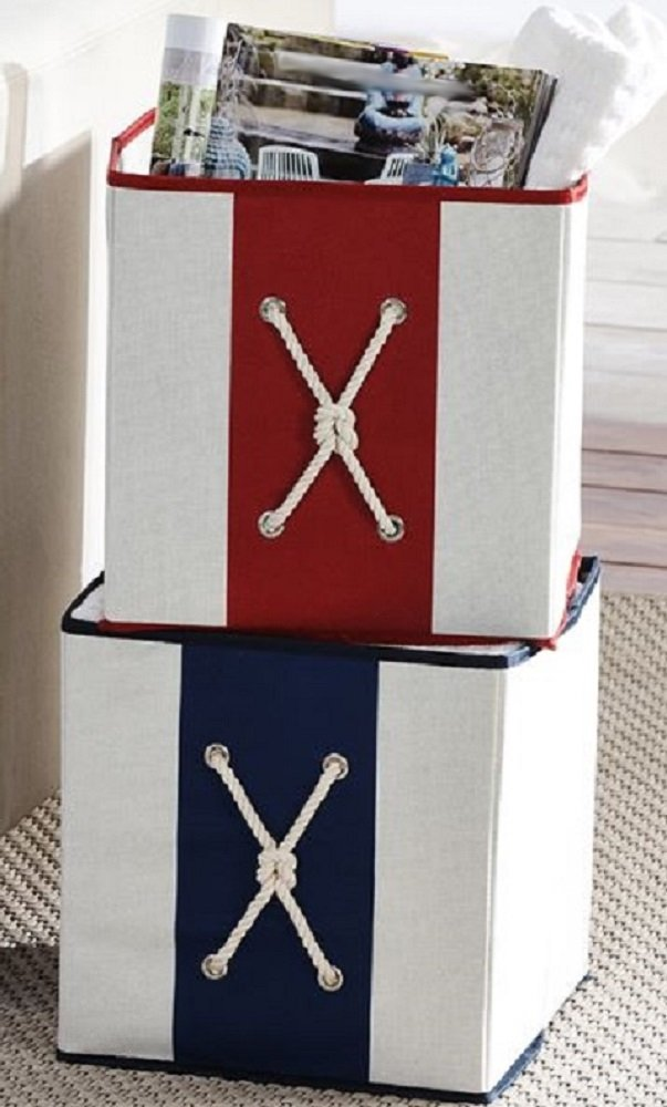 Gift Craft Nautical Fabric Storage Boxes Set of 2-10.5 x 10.5 x 11 Inches