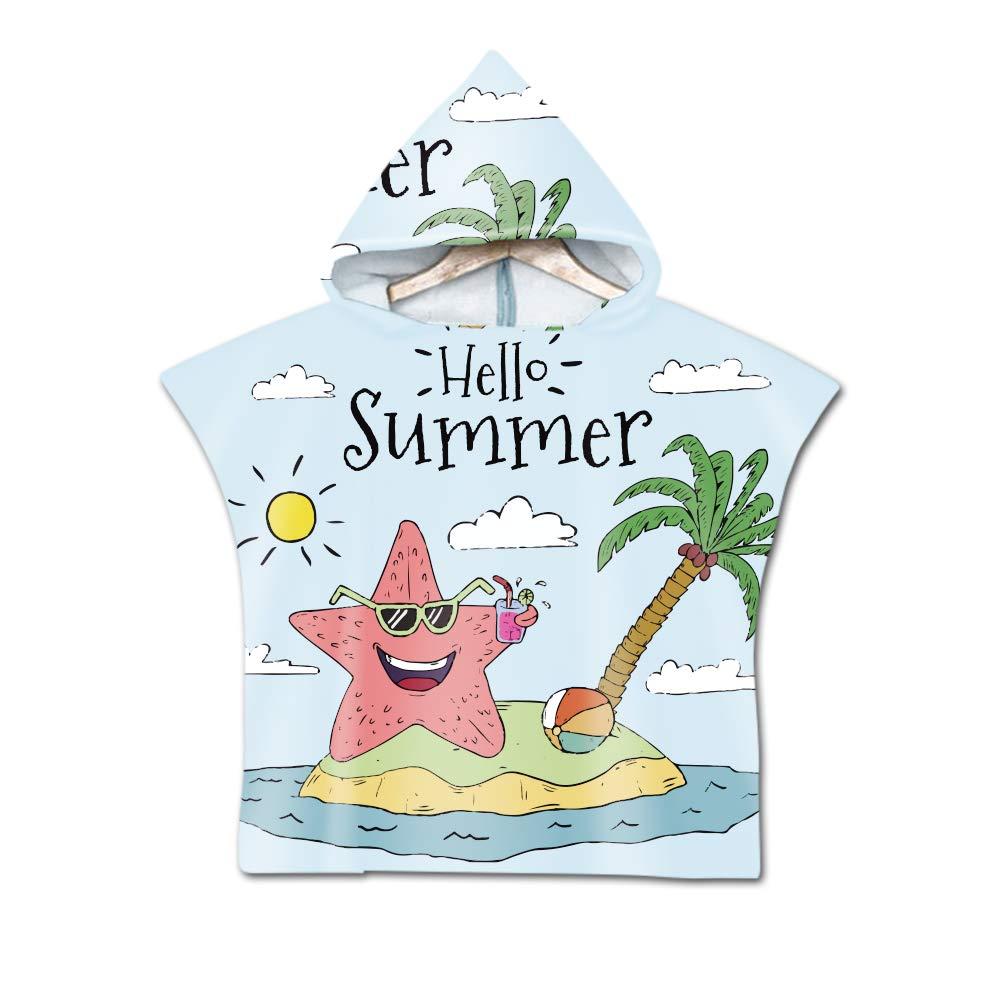 Stillshine Adulto Nataci/ón Playa Surf Poncho Albornoz con Capucha para Cambiarse de Ropa Toalla de Microfibra Albornoces Nadar Playa de Toalla para Mujer Hombre Ni/ño Adulto,El Cangrejo