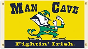 NCAA Notre Dame Fighting Irish Man Cave Flag with 4 Grommets, 3 x 5-Feet