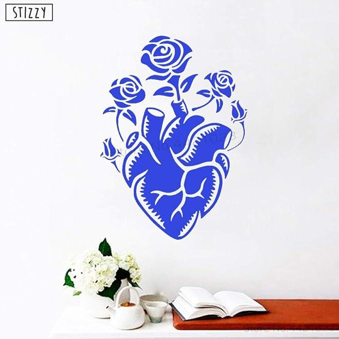 yaoxingfu Tatuajes de Pared Rosas Creativas Patrón de corazón ...