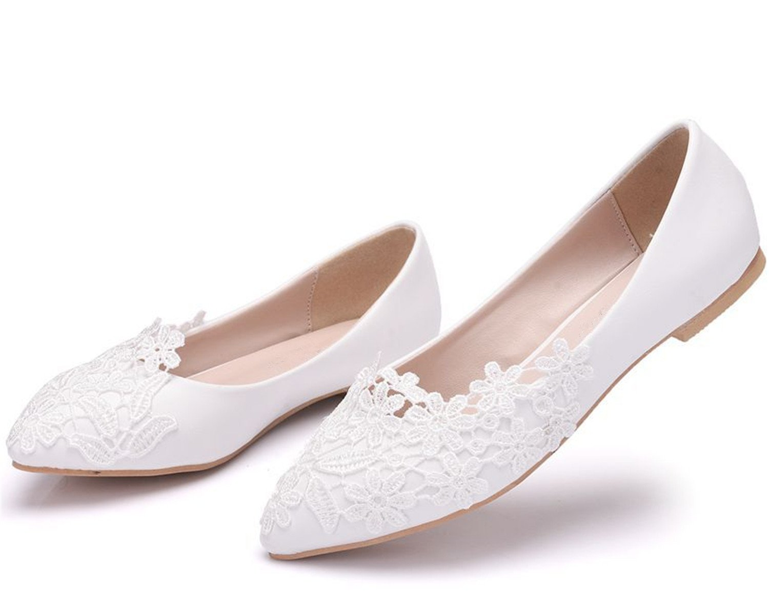 Aiybao White Lace Wedding Shoes for Bride Comfort Bride Shoes Wedding Bridal Dresses B07BGYZ9B6 10 B(M) US|Lace