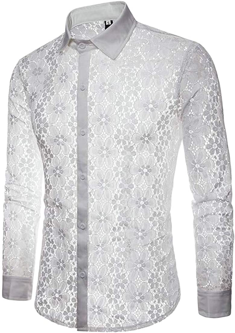 ouxiuli Men See Through Shirts Floral Lace Clubwear Casual Button Down Shirts