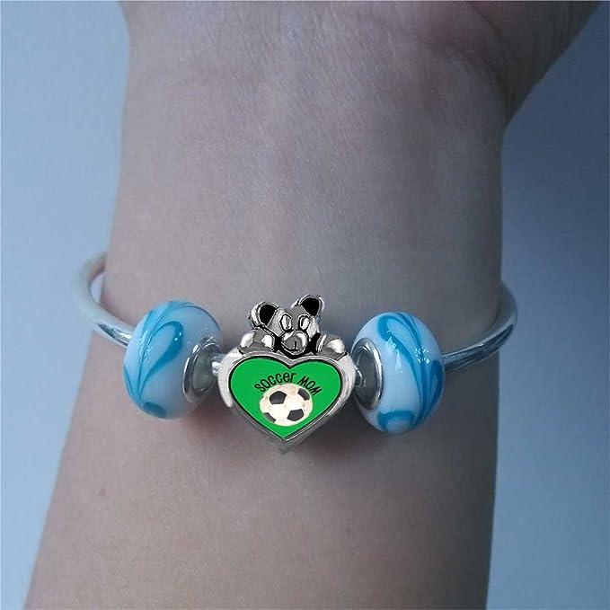 Fútbol mamá luz rosa cristal de octubre de colgante I Love You corazón cuidado oso Charm Beads Pulseras: Amazon.es: Hogar