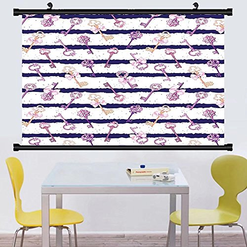 Gzhihine Wall Scroll Girly Decor Collection Old Medieval Vintage Keys with Ribbons and Diamonds Striped Pattern French Style Decor Wall Hanging Purple Blue - Diamond Key Scroll
