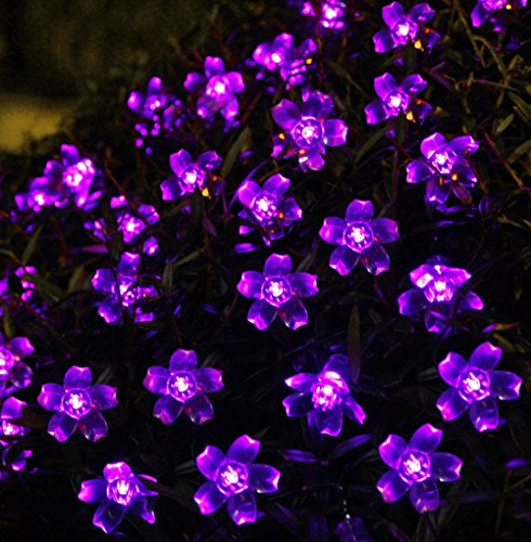 DYQWT Purple Solar Power String Lights LED Blossom Flower Fairy Light 21ft 50LED Garden Lawn Decoration Waterproof Path Light for Holiday Christmas Wedding Party Indoor Outdoor Decorative Patio Light (Purple Flowering Tree)