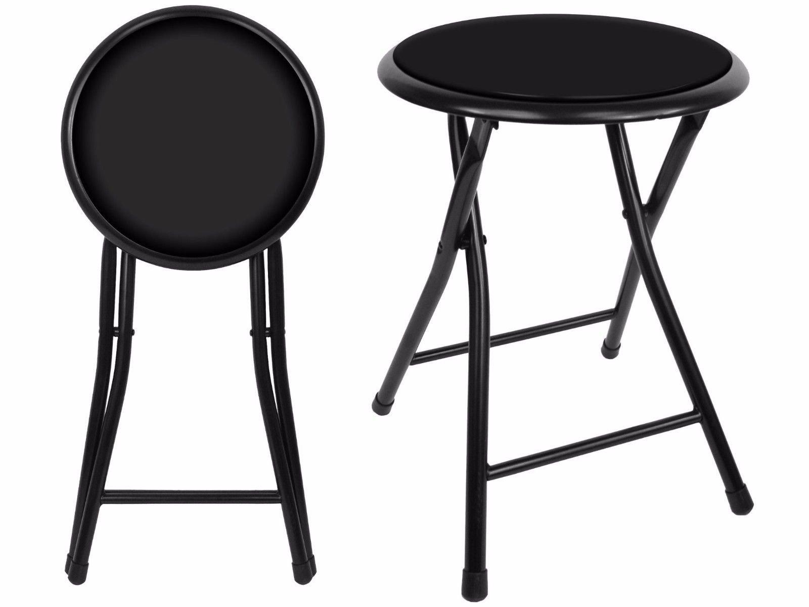 18'' Premium Lightweight Black Folding Cushioned Stool Outdoor Indoor Barstool Chair (Single Pack)