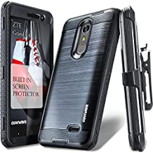ZTE Grand X 4 Case, COVRWARE [IRON TANK] Built-in [Screen Protector] Heavy Duty Full-Body Rugged Holster Armor [Brushed Metal Texture] Case [Belt Clip][Kickstand] For ZTE Grand X4 (Cricket), Black