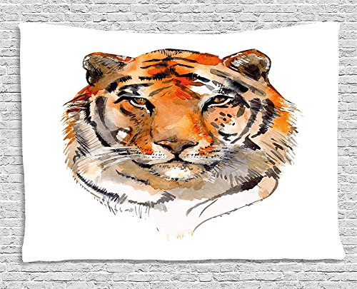 Tiger Tapestry, Feline Animal with Calming Stare Hand Drawn Watercolor Art Exotic Wildcat Hunter, Wall Hanging for Bedroom Living Room Dorm, 80 W X 60 L Inches, Orange Black by asddcdfdd