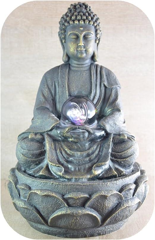 Zen Luz SCFR 8G Buddha Fuente Meditación Gran Interior Marrón OscuroChocolate 21 x 21 x 30 cm