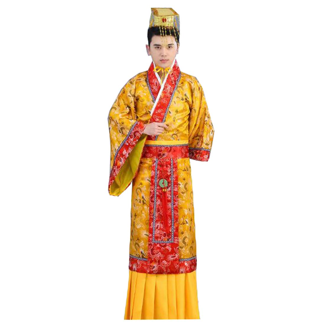 Ez-sofei Men's Ancient Chinese Han Dynasty Traditional Hanfu Robe Cosplay Costume (S, F-yellow&red)