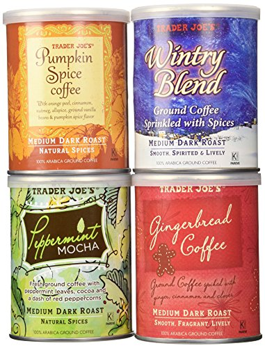 Trader Joe's Joyous Joe Ground Coffee Sampler - A Festive Assortment of Flavored and Spiced Coffees