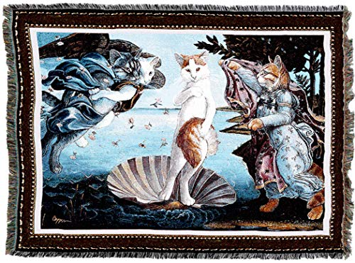 (Pure Country Weavers | Kitty On Half Shell Birth of Venus Cat Woven Tapestry Blanket with Fringe Cotton USA 72x54)