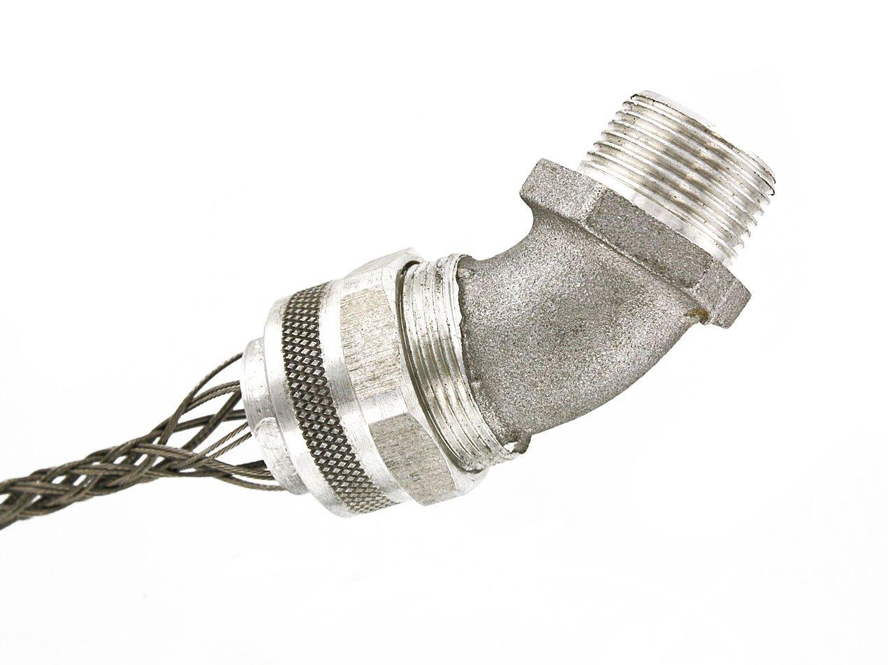 Leviton L7803 1/2-Inch, 45-Degree, Male, Aluminum Body, Deluxe Cord Sealing Strain-Relief.375 to .500 Cord Range
