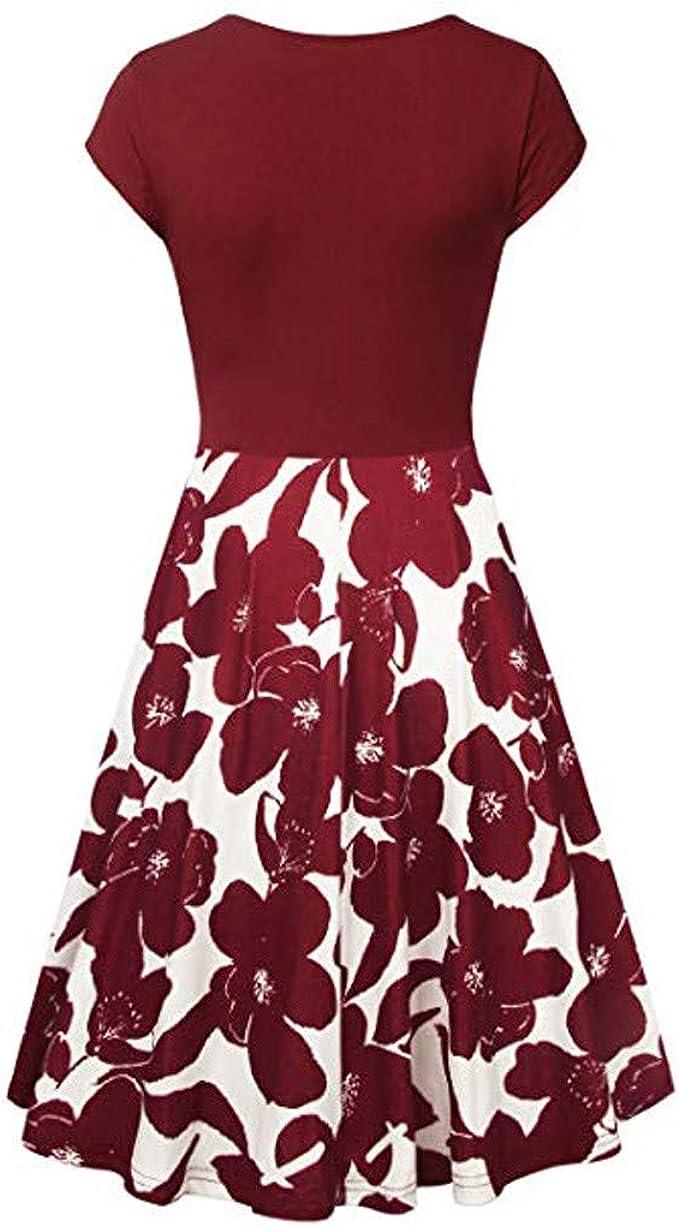 MERICAL - Vestido de Manga Corta con Cruz, para Mujer Rojo Intenso ...