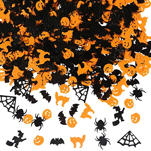 Amosfun Paper Confetti Pumpkin Table Throwing Confetti Witch Bat Spider Web Spider for Halloween Party 1 Pack 60g