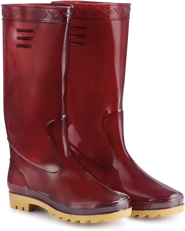 AB+ ABJ-BOOT01 Women's Waterproof Rain Boot, Garden Boot Size 9, Dark Red