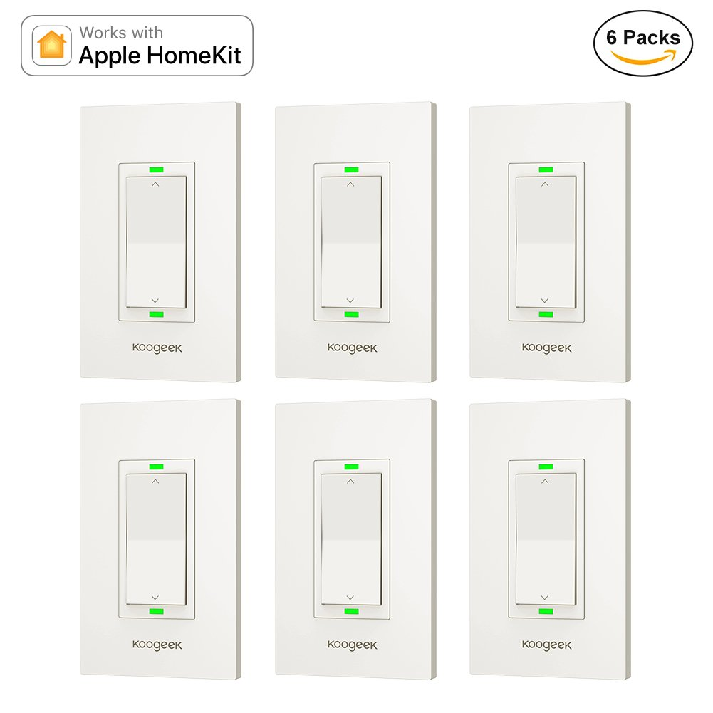 Koogeek Smart WiFi Light Switch Dimmer Works with Apple Homekit, Only for Single Pole, Support Siri on 2.4GHz Network 6 Packs (Require Neutral Wire) by Koogeek