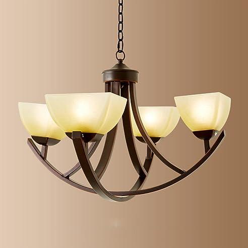 MMM  American Style Kronleuchter, Eisen Lampenkörper Glas Lampenschirm E27  Kronleuchter (Hängende Kette Höhe Amazing Pictures
