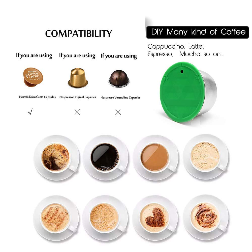 Professional Stainless Steel Coffee Filter Capsule Pod for Dolce Gusto TIMLand Refillable Coffee Capsule Set