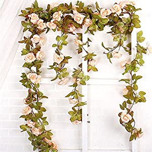 Felice Arts 2 Pack 11 Heads 7.2 Ft/pc Artificial Silk Fake Flowers Autumn Rose Vine Realistic Hanging Silk Rose Plants Wedding Home Party Arch Decor 4