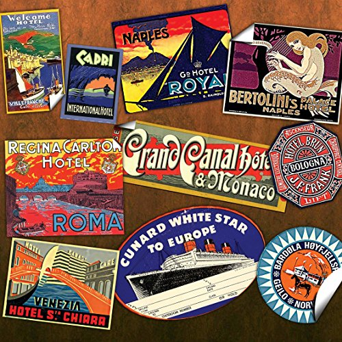 (30 Reproduction vintage LUGGAGE LABEL STICKERS - DIY decorate old)