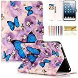 iPad Mini Case, Mini 2/3 Case, Dteck Colorful Painted Flip Stand Leather Card Slots Wallet Case with Auto Wake/Sleep Feature Smart Cover for Apple iPad mini 3/2/1 (Blue Butterfly)