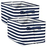 DII Fabric Bins for Laundry Room, Nurseries, Closets & Everyday Storage Needs, Large Set of 2 Stripe, Rectangle, French Blue