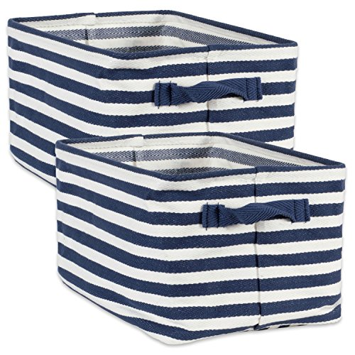 DII - Cesto de Tela para lavandería, Juego de 2 - Grande, Azul French, Rectangle, 1, 1