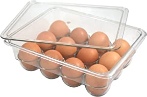 Egg Tray Holder with Lid Refrigerator Storage Container, 12 Egg Tray Square