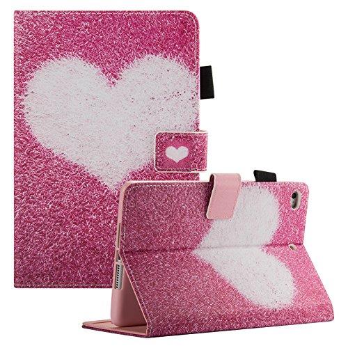 iPad Mini Case, Mini 2/3/4 Case, Dteck Slim Fit Premium PU Leather Flip Folio Stand Case with Auto Wake/Sleep Function [Card Slots & Money Holder] Smart Cover for Apple iPad Mini 4/3/2/1, Pink Love