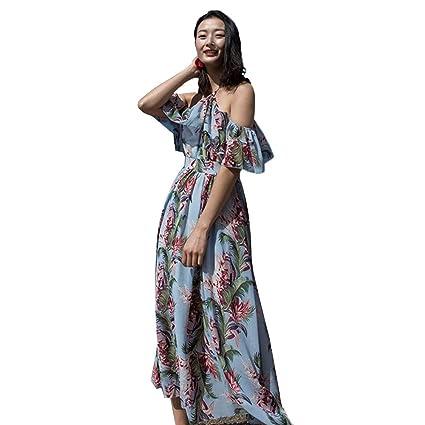 af39379f3b658 A-line Skater Dress Women Chiffon Floral Print Bohemian Beach Dress  Sundress Off The Shoulder
