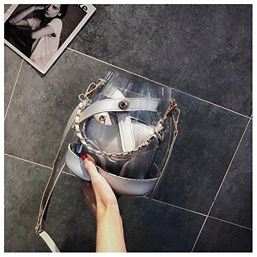 Con Bolso Silver Totes Mujer Mochila De Jiurui Portátil Nuevo Y Transparente Cadena Bandolera Jalea wtX4tTq