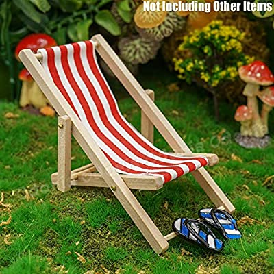 Odoria 1:12 Miniature Foldable Beach Chair Red Stripe Dollhouse Furniture Accessories: Toys & Games