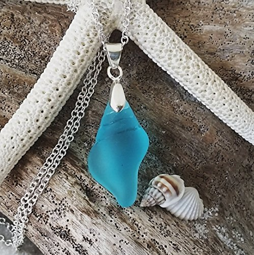 (Handmade in Hawaii, sea shell sea glass necklace, sterling silver chain, FREE gift wrap, FREE gift message, FREE shipping, Valentine's Day)