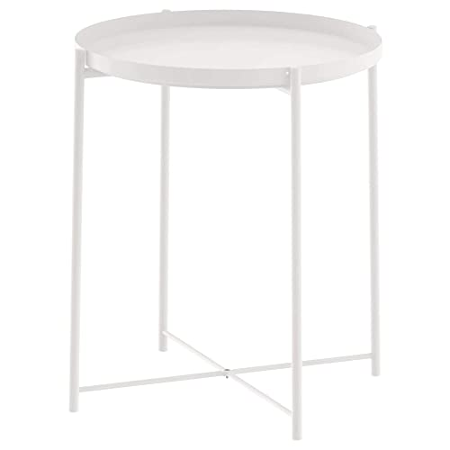 JANE EYRE Tray Metal End Table, Small Round Side Table, Accent Coffee Table, Nightstand Bedside Table, Anti-Rust Outdoor Indoor Snack Table with Removable Tray, H 20.6 x D 17.5 – White