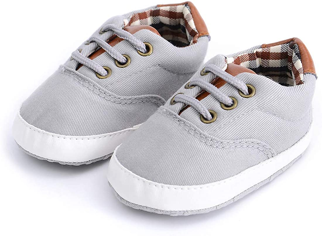 Morbido Infant Baby Boys Girls Canvas Toddler Sneaker Anti-Slip First Walkers Candy Shoes 0-24 Months 12 Colors