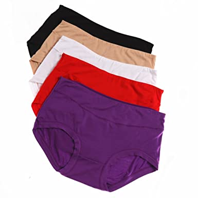 72c558390e2 UWOCEKA Pack of 5 Women s Panties Plus Size Bamboo Fiber Super Stretchy Soft  Breathable High Middle