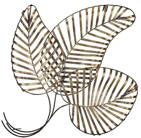 Adeco Bronze Leaf Urban Design Metal Wall Decor for Nature Home Art Decoration Kitchen Gifts – 27.5×25.2 Inches